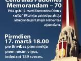 """17. martā norisināsies piemiņas pasākums """"Latvijas Centrālās Padomes Memorandam – 70"""""""
