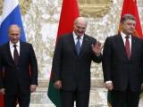 Ukrainas prezidents Porošenko tiekoties ar Baltkrievijas prezidentu Lukašenko citē Bībeli