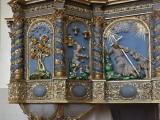 Lestenes baznīcā atgriezusies grezni restaurētā kancele